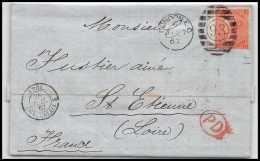 35802 Marque D'entrée Grande Bretagne Great Britain N°32 Victoria 4p Red Cover London St Etienne France 1867 Cachet 93 - Postmark Collection (Covers)