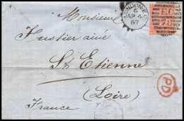 35881 Marque D'entrée Grande Bretagne Great Britain N°32 Victoria 4p Red Cover London St Etienne France 1867 Cachet EC78 - Postmark Collection (Covers)