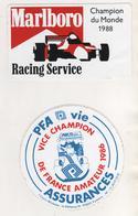 THEME AUTOMOBILE - MARLBORO RACING SERVICE 1988 ET PFA VIE VICE CHAMPION DE FRANCE AMATEUR 1986 ( 2 AUTOCOLLANTS ) - Car Racing - F1