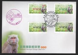 Taiwan R.O.CHINA - ATM Frama FDC -Formosan Macaque - Vignettes ATM - Frama