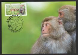 Taiwan R.O.CHINA - ATM Frama -Maximum Card.- Formosan Macaque #107 Red Imprint - ATM - Frama (labels)