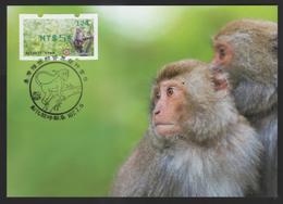 Taiwan R.O.CHINA - ATM Frama -Maximum Card.- Formosan Macaque #124 Green Imprint - ATM - Frama (labels)