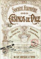 06-FERMIERE DES CASINOS DE NICE. Titre D'1 Part Bénéficiaire De 1910 - Aandelen