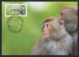 Taiwan R.O.CHINA - ATM Frama -Maximum Card.- Formosan Macaque #126 Black Imprint - ATM - Frama (labels)