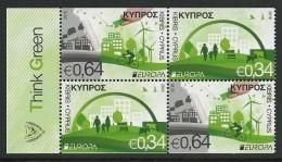 "CHIPRE/ CYPRUS/ ZYPERN -EUROPA 2016- ""ECOLOGIA -EL PENSAMIENTO VERDE -THINK GREEN"".- 2 SERIES Del CARNET - 2016"