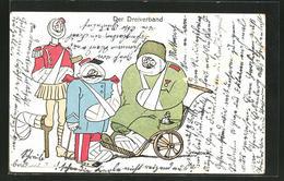Künstler-AK Mauder: Der Dreiverband, Propaganda 1. Weltkrieg - Oorlog 1914-18