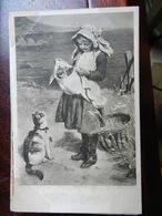 17851) AUGURALE GENERICA BAMBINA CON GATTI NON VIAGGIATA 1910 CIRCA MACCHIETTE - Auguri - Feste