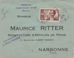 418 SEUL SUR LETTRE ALES 6/4/39 POUR NARBONNE                                            (tda001) - Marcophilie (Lettres)