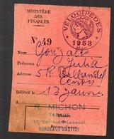 Bordeaux Bastide (33 Gironde) Vignette Vélocipèdes 1953  (PPP13714) - Fiscale Zegels