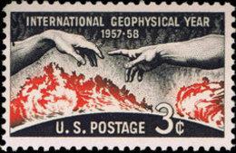 1958 USA Geophysical Year Stamp Sc#1107 Sun Solar Disk Hand UN - Geology