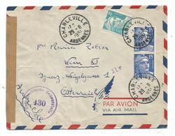 GANDON 15FRX2+8FR LETTRE AVION CHARLEVILLE ARDENNES 29.8.1951 POUR AUTRICHE + BANDE - Marcophilie (Lettres)