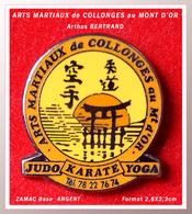 SUPER PIN'S ARTS MARTIAUX, JUDO, KARATE, YOGA : COLLONGE Au MONT D'OR Signé Arthus BERTRAND, Zamac Argent, 2,6X2,3cm - Judo