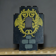 Lego Panneau Mur Fenetre Chateau 2x5x6 Avec Motif Dragon Ref 4444pb03 - Lego Technic