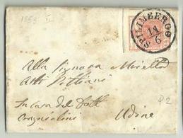 AS064-Lettera Da Spilimbergo Per Udine Con 15 Cent. II Tipo 11.6.1853 - Timbro Di Arrivo Al Verso - Lombardo-Vénétie