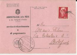 CARTOLINA DI AVVISO DI RICEVIMENTO O DI PAGAMENTO 1946  -FP - Poste & Postini