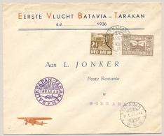 Nederlands Indië - 1937 - 20 Cent LP Zegel Op Special Flight TARAKAN Naar Soerabaja - Nederlands-Indië