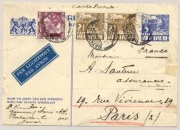Nederlands Indië - 1937 - 5 Cent Briefkaart G57 Met Bijfrankering Per LP Van Batavia Naar Paris / France - Nederlands-Indië
