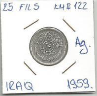 Gh3 Iraq 25 Fils 1959. KM#122 Ag Silver Argent - Iraq