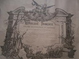 Diplôme ,  Police Municipale Et Rurale,1903,Paris, Wannenmacher, Né Dans L'Aube, Chautemps, Ministre De L'intérieur - Diplomi E Pagelle
