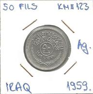 Gh3 Iraq 50 Fils 1959. KM#123 Ag Silver Argent - Iraq