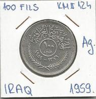 Gh3 Iraq 100 Fils 1959. KM#124 Ag Silver Argent - Iraq