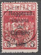 Fiume 1920 Carnaro, Sassone#145 Used, Cat. Value 300 Eur - Fiume