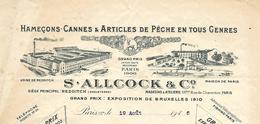 Facture Lettre 1916 / PARIS / S. ALLCOCK  & C° / Articles De Pêche / Hameçons, Cannes - France