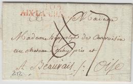 LAC 103 AIX LA CHAPELLE (Rge) - Au Verso DEB 58 BEAUVAIS (Rge) - TB - Postmark Collection (Covers)