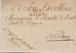 LAC 103 DALEN - S/pli De Wickrath - Dépôt D'Etalons - Dépt De La Roër - 15 JANV 1872 - Au Verso Joli Cachet Illustré Ave - Postmark Collection (Covers)