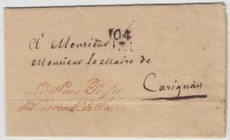 """LAC 104 TURIN + Griffe Rge """"Le Sous-Préfet De L'Arrondt De TURIN"""" - 27 Janvier 1812 - Pr Carignan - B/TB - Postmark Collection (Covers)"""