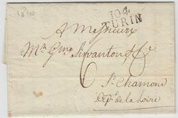 LAC 104 TURIN - 1810 - Pr St Chamond (Loire) - TB - Postmark Collection (Covers)