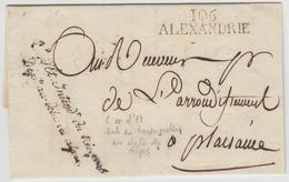 LAC 106 ALEXANDRE + Griffe De Franchise De L'Intendant Du Trésor Public - Dépt Au-delà Des Alpes - 1813 - Pr Plaisance - - Postmark Collection (Covers)