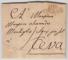 LAC 106 CAZAL - Février 1809 - Pr Ceva - TB - Postmark Collection (Covers)