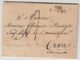 LAC 106 CAZAL - 18 Oct 1812 - Pr Ceva - TB - Postmark Collection (Covers)