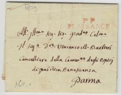 LAC P.P PLAISANCE (Rge) - 1809 - Pr Parma - TB - Postmark Collection (Covers)