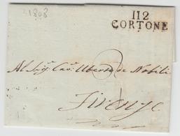 """LAC 112 CORTONE - 1808 - Pr Firenze - Au Verso Cachet Du """"23 Décembre"""" - TB - Postmark Collection (Covers)"""