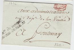 LSC Comon Du Mouvemt Des Arm De Terre - 1795 - Pr Fontenay - TB - Postmark Collection (Covers)