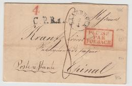 LAC N°196 - Prusse Par Forbach Rge  + Saarbruck 6/4 (1835) + Taxes - Pr Epinal - TB - Postmark Collection (Covers)