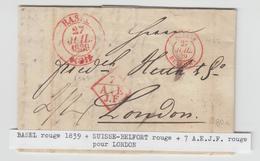 LAC N°1122 - Suisse Belfort - 27/7/39 (Rge) + 7 A.E.J.F Rge + Càd Basel Rge - Pr Londres - TB - Postmark Collection (Covers)