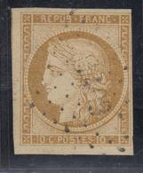 O N°1 - 10c Bistre - Obl. PC - 1 Filet En Biseau - 1849-1850 Ceres