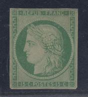 (*) N°2 - 15c Vert - Signé Brun - TB - 1849-1850 Ceres
