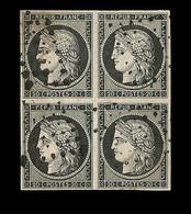 O N°3 - Bloc De 4 - Obl. Losange Points - 2 Points Clairs Sinon Belles Marges - Asp. TB - 1849-1850 Ceres