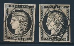 O N°3 (x2) - Obl. Grille Et Càd - TB - 1849-1850 Ceres