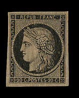 * N°3b - 20c Noir S/chamois - Signé Et Notifié Calves - TB - 1849-1850 Ceres