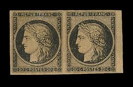 * N°3b - Paire - 20c Noir S/chamois - Gomme Brunâtre - BDF - Signé MIRO - TB/SUP - 1849-1850 Ceres
