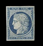 ** N°4 - 25c Bleu - Qques Tâches Jaunes - Signé Calves- TB - 1849-1850 Ceres