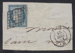 F N°4 - Belles Marges - Grille + Càd Paris 15 Dec 51 - TB - 1849-1850 Ceres