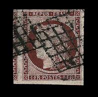 O N°6 - 1F Carmin - Beau Voisin - Réparé - Asp. SUP + Certificat Calves - 1849-1850 Ceres