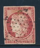 O N°6a - 1F Carmin Clair - Obl. Étoile Muette - Petites Marges - Signé Calves - TB - 1849-1850 Ceres