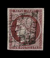 O N°6B - 1F Carmin Brun - Signé Pasquet/Calves - TB - 1849-1850 Ceres